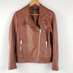 Forever 21 Vegan leather moto zip jacket M